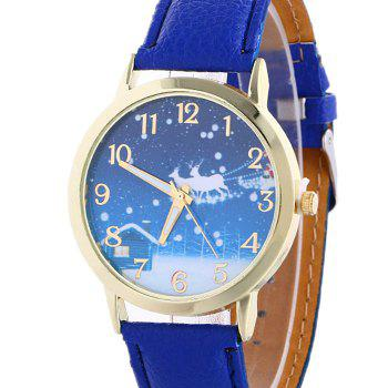 Christmas Night Deer Face Number Watch - BLUE