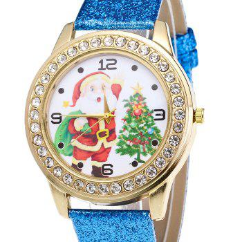 Christmas Santa Tree Face Glitter Watch -  BLUE