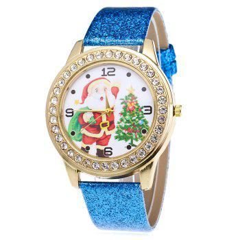 Christmas Santa Tree Face Glitter Watch - BLUE BLUE