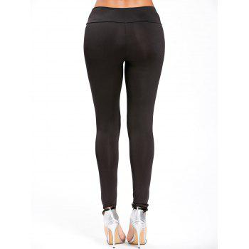 Embroidered High Waisted Leggings - BLACK S