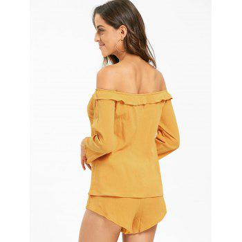 Off The Shoulder Lace Up Blouse and Shorts - DEEP YELLOW M