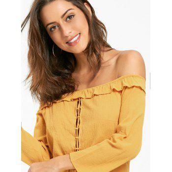 Off The Shoulder Lace Up Blouse and Shorts - DEEP YELLOW L