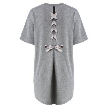 Plus Size Back Lace Up Tee Dress - GRAY GRAY