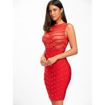Sleeveless Mesh Insert Studded Bandage Dress - S S