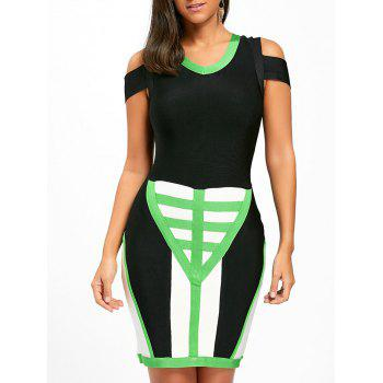Cold Shoulder Color Block Bandage Dress - COLORMIX M
