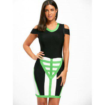 Cold Shoulder Color Block Bandage Dress - M M