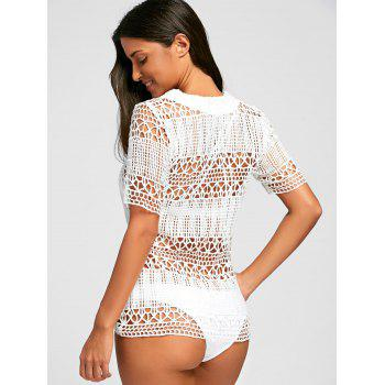 Crochet Cover Up Tunic Top - WHITE L