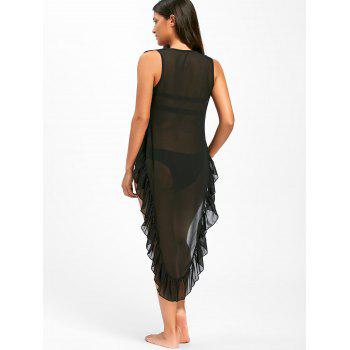 Ruffles High Low Cover Up Dress - BLACK M