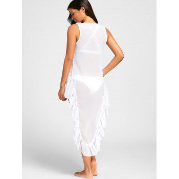 Ruffles High Low Cover Up Dress - WHITE L