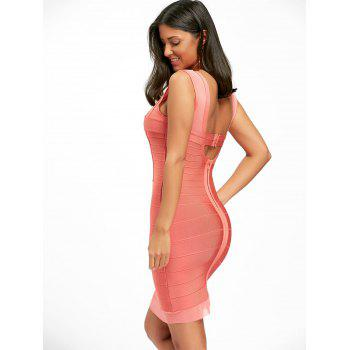 Mesh Panel Back Cut Out Bandage Dress - M M