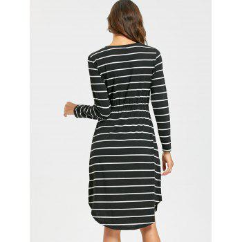 Striped Asymmetrical Hem T Shirt Dress - BLACK XL