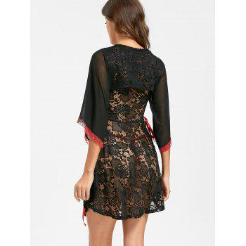 Lace See Through Vintage Lingerie Dress - BLACK S