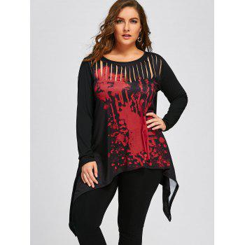 Halloween Plus Size Two Tone Ripped T-shirt - RED/BLACK XL