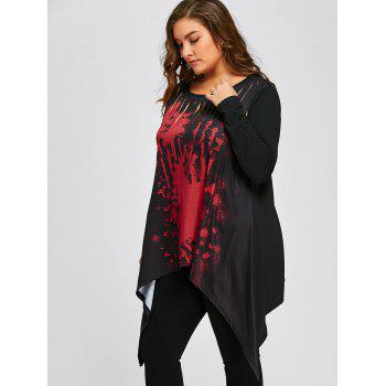 Halloween Plus Size Two Tone Ripped T-shirt - RED/BLACK 2XL