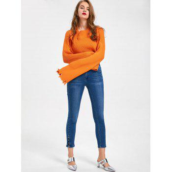 Lace Up Ninth Length Jeans - DENIM BLUE L