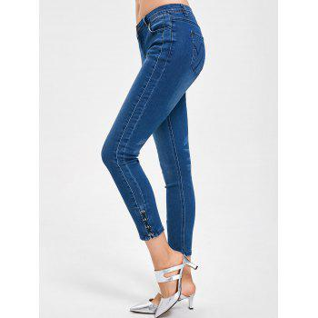 Lace Up Ninth Length Jeans - DENIM BLUE DENIM BLUE