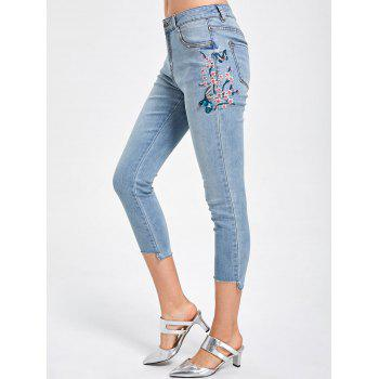 Embroidery Faded Capri Jeans - 2XL 2XL