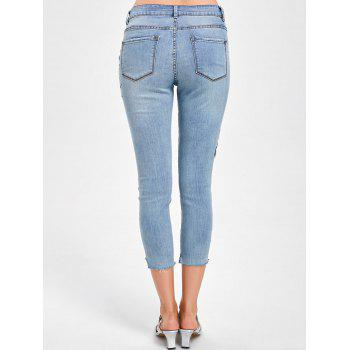 Embroidery Faded Capri Jeans - DENIM BLUE L