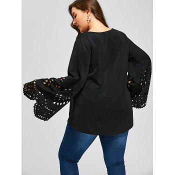 Plus Size Openwork Flare Sleeve Top - BLACK 3XL