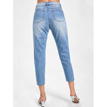 Embroidery Distressed Capri Jeans - DENIM BLUE DENIM BLUE