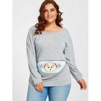 Cartoon Baby Printed Plus Size Drop Shoulder T-shirt - GRAY 2XL