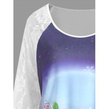 Christmas Santa Claus Elk Moon Plus Size Tee - WHITE 3XL