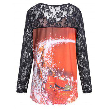 Christmas Santa Claus Lace Plus Size T-shirt - DARKSALMON 3XL