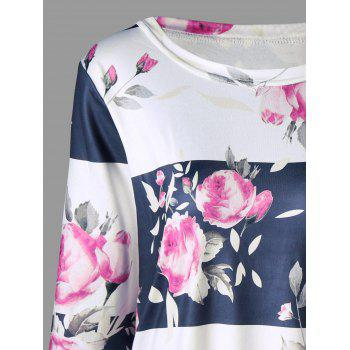 Plus Size Floral T-shirt with Sleeves - COLORMIX XL
