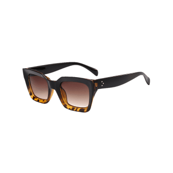 Vintage Anti UV Full Frame Square Sunglasses - BLACK BROWN