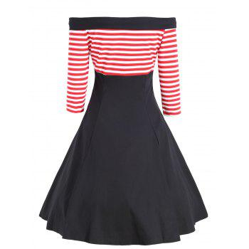 Buttons Striped Off The Shoulder Vintage Dress - RED 2XL