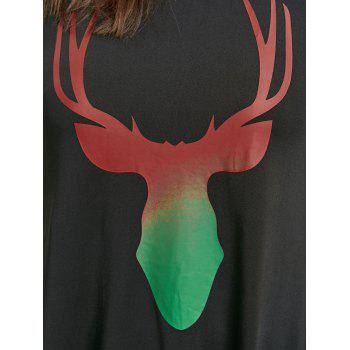 Christmas Ombre Elk Print Cold Shoulder Mini Dress - ONE SIZE ONE SIZE