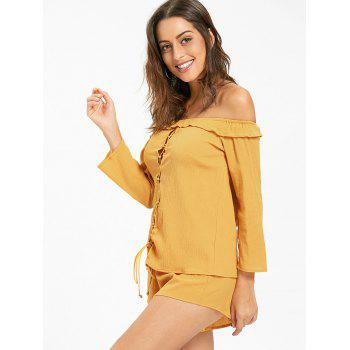 Off The Shoulder Lace Up Blouse and Shorts - DEEP YELLOW DEEP YELLOW