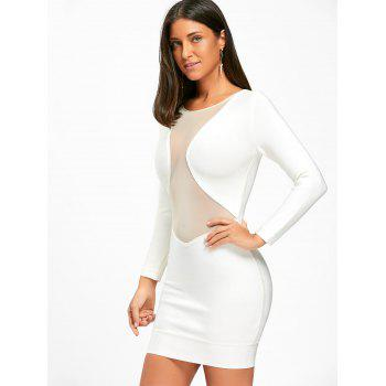 Mesh Insert Long Sleeve Bandage Dress - WHITE WHITE