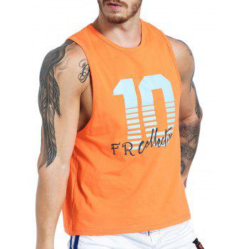 Graphic Number Print Tank Top - ORANGE ORANGE