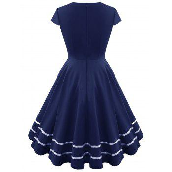 Striped Sweetheart Fit and Flare Vintage Dress - PURPLISH BLUE L