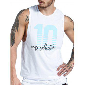 Graphic Number Print Tank Top - WHITE WHITE
