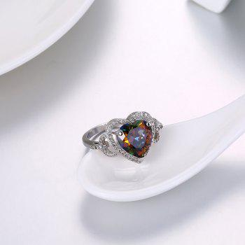 Faux Gemstone Heart Sparkly Finger Ring - SILVER SILVER