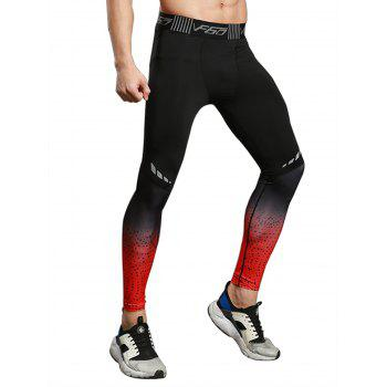 Dip Dye Stretch Dots Paint Skinny Athletic Pants - RED RED
