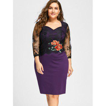Plus Size Lace Panel Floral Applique Bodycon Dress - PURPLE 5XL