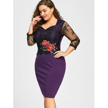 Plus Size Lace Panel Floral Applique Bodycon Dress - PURPLE PURPLE