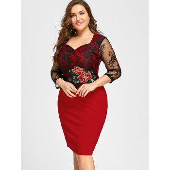 Plus Size Lace Panel Floral Applique Bodycon Dress - RED RED