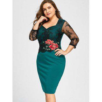 Plus Size Lace Panel Floral Applique Bodycon Dress - GREEN 5XL