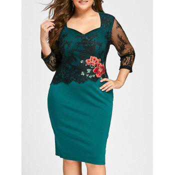 Plus Size Lace Panel Floral Applique Bodycon Dress - GREEN GREEN