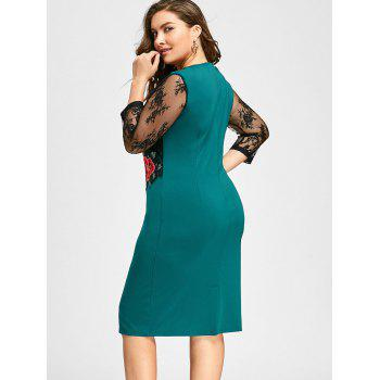 Plus Size Lace Panel Floral Applique Bodycon Dress - GREEN 4XL