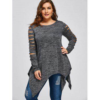 Plus Size Marled Ripped Sleeve Handkerchief Top - GRAY 3XL