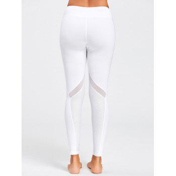 Midi Rise Sheer Mesh Panel Sport Leggings - WHITE S