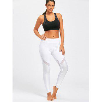 Midi Rise Sheer Mesh Panel Sport Leggings - WHITE L