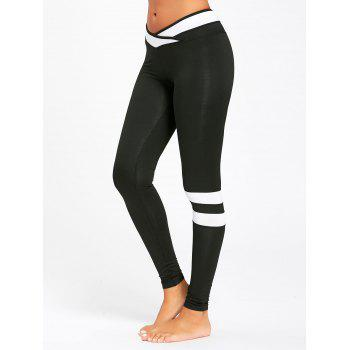 Stripe Contrast Workout Leggings - BLACK M