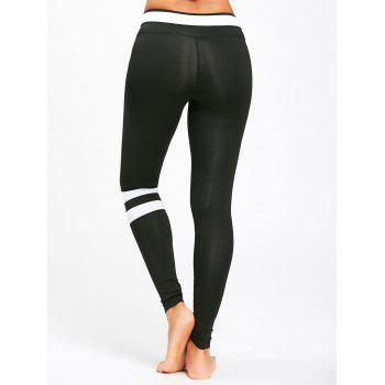 Stripe Contrast Workout Leggings - BLACK L