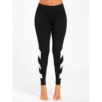 Arrow Color Block Yoga Leggings - BLACK BLACK